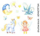 set of stickers for nursery ... | Shutterstock . vector #604659764