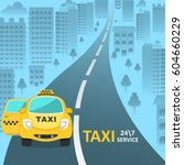 the taxi car with an open... | Shutterstock .eps vector #604660229