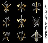 vintage weapon emblems set.... | Shutterstock .eps vector #604661099