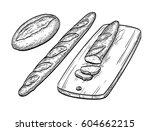baguette and rustic bread. hand ... | Shutterstock .eps vector #604662215