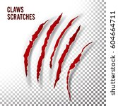 claws scratches vector. claw... | Shutterstock .eps vector #604664711