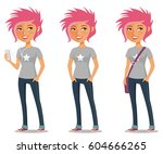 cute cartoon girl with pink... | Shutterstock .eps vector #604666265