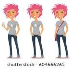 cute cartoon girl with pink... | Shutterstock .eps vector #604666265
