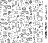 seamless pattern hand drawn... | Shutterstock .eps vector #604668641