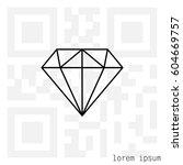 diamond icon line vector.