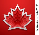 maple leaf cutted out shape.... | Shutterstock .eps vector #604673225