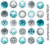 set of vector low poly... | Shutterstock .eps vector #604678019