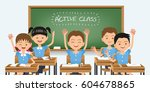 good healthy students are... | Shutterstock .eps vector #604678865