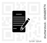 icon of notes  sheet and pen .... | Shutterstock .eps vector #604680974