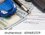 document  dollar  pen ... | Shutterstock . vector #604681529
