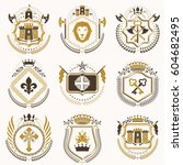 vector vintage heraldic coat of ... | Shutterstock .eps vector #604682495