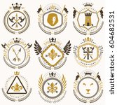 set of old style heraldry... | Shutterstock .eps vector #604682531