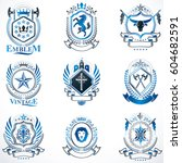vintage decorative heraldic... | Shutterstock .eps vector #604682591