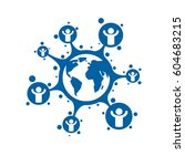 world and person creative logo  ... | Shutterstock .eps vector #604683215