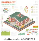 flat 3d isometric school and... | Shutterstock .eps vector #604688291