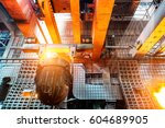 large steel mill production... | Shutterstock . vector #604689905