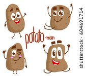 vector set of potato characters.... | Shutterstock .eps vector #604691714