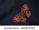 butterfly of beads. embroidery... | Shutterstock . vector #604691981