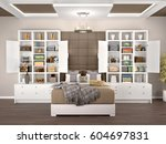 bedroom design with open and... | Shutterstock . vector #604697831