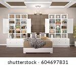 bedroom design with open and... | Shutterstock . vector #604697831