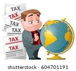 tax evasion. sad man looking...   Shutterstock .eps vector #604701191
