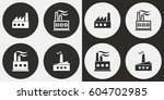 factory vector icons set.... | Shutterstock .eps vector #604702985