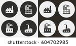 factory vector icons set.... | Shutterstock .eps vector #604702985