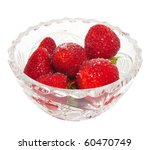 Small photo of Fresh strawberries in a crystal vase