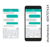 smartphone with messaging sms...   Shutterstock . vector #604707614