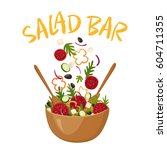 salad bar composition with wood ... | Shutterstock .eps vector #604711355