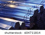 cylindrical steel pipe ... | Shutterstock . vector #604711814