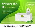 tea advertising banner. white... | Shutterstock .eps vector #604714055