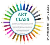a set of colored pencils under... | Shutterstock .eps vector #604716689