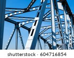 steel bridge across the river... | Shutterstock . vector #604716854