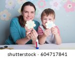 child boy with mother have a... | Shutterstock . vector #604717841