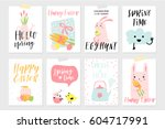 set of spring and easter gift... | Shutterstock .eps vector #604717991
