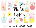spring time and easter... | Shutterstock .eps vector #604718447