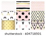cute set with gold  soft pink ... | Shutterstock .eps vector #604718501