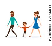happy family walking together... | Shutterstock .eps vector #604722665