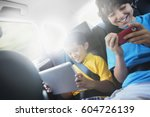 two children travelling in the... | Shutterstock . vector #604726139