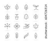 leaf vector line icons  minimal ... | Shutterstock .eps vector #604726514