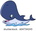 happy cartoon whale  | Shutterstock .eps vector #604734245