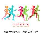 people running marathon logo... | Shutterstock .eps vector #604735349