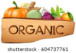 organic sign with fruits and... | Shutterstock .eps vector #604737761