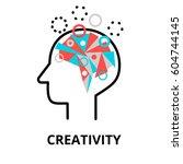 creativity icon  flat thin line ... | Shutterstock .eps vector #604744145