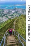 woman on the stairway to heaven ... | Shutterstock . vector #604746227