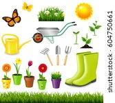 gardening tools  | Shutterstock . vector #604750661