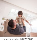 cheerful young boy having fun... | Shutterstock . vector #604752785