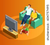 young family watching tv in... | Shutterstock .eps vector #604757495