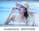 summer portrait of beautiful... | Shutterstock . vector #604757609